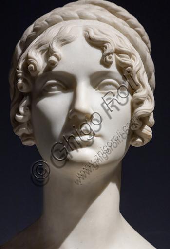 """""""Wilhelmine Benigna Biron duchess of Sagan"""", 1818, by Bertel Thorvaldsen (1770 - 1844), marble. Detail."""