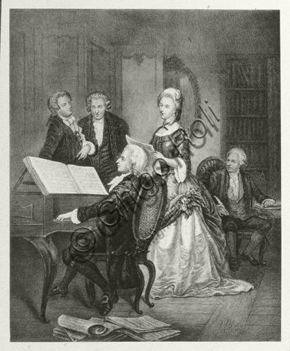 """Wolfgang Amadeus Mozart and the Austrian soprano Caterina Maddalena Giuseppa Cavalieri, born Katharina Magdalena Josepha Cavalier"". Engraving."