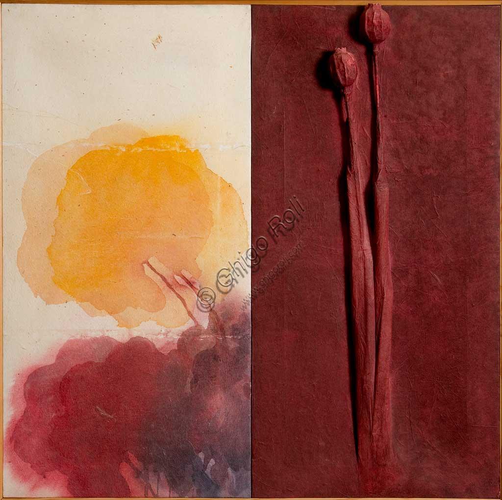 """Collezione Assicoop-Unipol: Davide Benati (1949-), """"Zafferano"""", Tecnica mista su tela, cm. 100x100."""