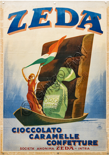 """""""Zeda chocolate, candies, jams"""", Illustration for an advertising poster by Marcello Dudovich, 1932, chromolithography on paper."""