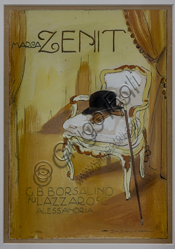 """""""Zenit"""", advertising Illustration by Marcello Dudovich for the firm of Borsalino hats, 1910, sketch in pencil and watercolour on paper."""