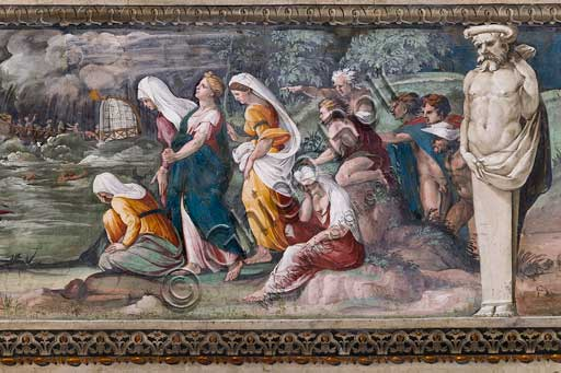 "Rome, Villa Farnesina, The Hall of Perspectives: the ample frieze with mythological scenes inspired by the Ovid Metamorphoses. Scene of flood withe the myth of Alcyone and Ceyx.Frescoes by Baldassarre Peruzzi and workshop (1517-18). In Greek mythology, Ceyx was the son of Eosphorus and the king of Thessaly. He was married to Alcyone. They were very happy together, and often called each other ""Zeus"" and ""Hera"". This angered Zeus, so while Ceyx was at sea, the god threw a thunderbolt at his ship. Ceyx appeared to Alcyone as an apparition to tell her of his fate, and she threw herself into the sea in her grief. Out of compassion, the gods changed them both into halcyon birds. It is said that the halcyon birds build their nests when the water is calm since both of them died at sea."