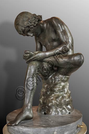 "Rome, Capitoline Museums: ""Boy with a Thorn"" or ""Spinario"", hellenistic bronze sculpture, 3rd - 1st Century BC."