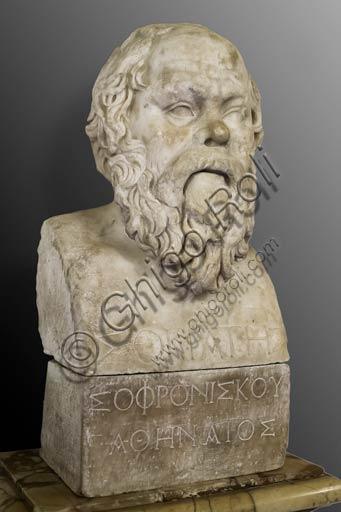 Roma, Musei Capitolini, Sala dei Filosofi: Erma (busto) di Socrate, da un originale greco della seconda metà del IV° sec. a. C:.