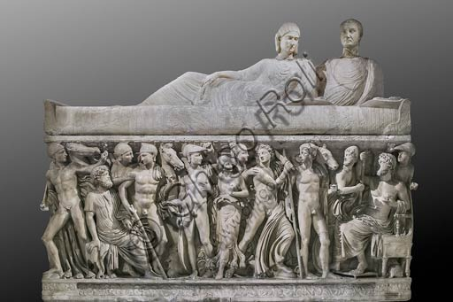 Rome, Capitoline Museums: marble sarcophagus representing scenes of Achilles' life, 3rd Century AD.