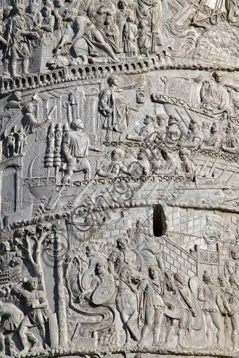 Rome, Trajan's Column: detail of the scenes that commemorates  the Roman emperor Trajan's victory in the Dacian Wars.