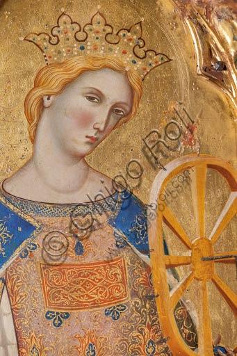 San Severino Marche, Pinacoteca Comunale: Paolo Veneziano, Polittico (1358) con Santi. Particolare con Santa Caterina d'Alessandria che regge la ruota della tortura.