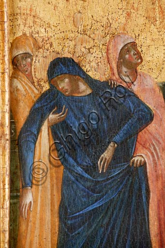 Croatia, Rab (Arbe), Museum of the Cathedral: Paolo Veneziano, Polyptych of the Crucifixion (1350-55). Detail with the Virgin Mary.
