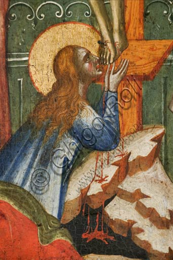Croatia, Rab (Arbe), Museum of the Cathedral: Paolo Veneziano, Polyptych of the Crucifixion (1350-55). Detail with Mary Magdalene.