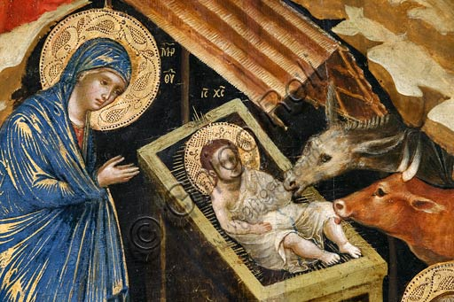 Belgrade, National Museum of Serbia: Paolo and/or Lorenzo Veneziano,  Nativity scene. Detail with the Virgin, Child Jesus, donkey and ox.