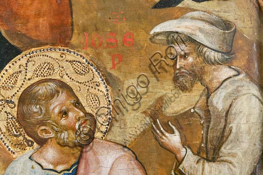 Belgrade, National Museum of Serbia: Paolo and/or Lorenzo Veneziano,  Nativity scene. Detail with St. Joseph.
