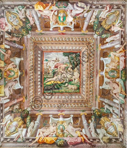 """Parma, San Secondo, Rocca dei Rossi: the ceiling of the Room of Adonis. At the center of the perspective: """" Death of Adonis"""". At the sides, in a faux porch: memorial stones of family members Rossi, Gonzaga, Riario and Medici. Frescoes by an unknown artist, perhaps Horace Samacchini, sec. XVI."""