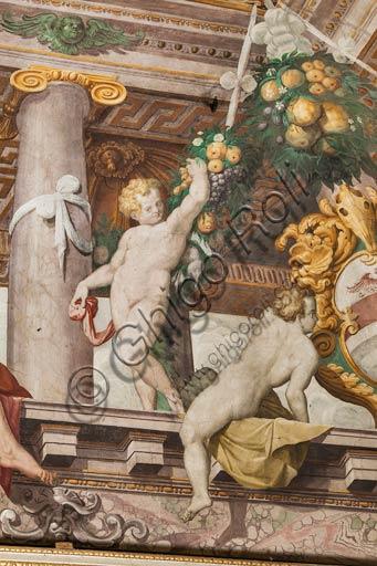 Parma, San Secondo, Rocca dei Rossi, soffitto della Sala di Adone: particolare del finto loggiato. Affreschi di ignoto, forse Orazio Samacchini, sec. XVI.