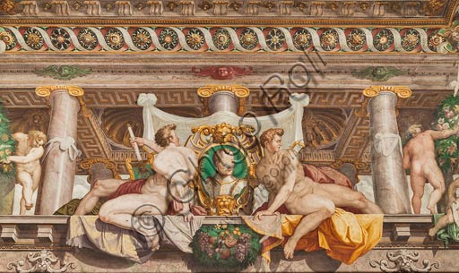 Parma, San Secondo, Rocca dei Rossi,  ceiling of the Room of Adonis. Detail of the faux porch with memorial stones of Giovanni De' Medici. Fresco by an unknown artist, perhaps Horace Samacchini, sec. XVI.