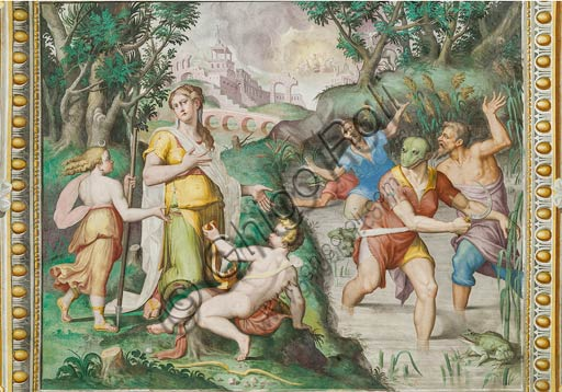 Parma, San Secondo, Rocca Dei Rossi, Hall of Latona: the Goddess, exhausted from the long pilgrimage with her children Apollo and Diana, to escape the wrath of the jealous Juno, transforms into frogs some arrogant peasants who dared to deny her a moment of rest . Fresco inspired by an episode from Ovid's Metamorphoses, by an unknown author, probably a pupil of Giulio Romano.