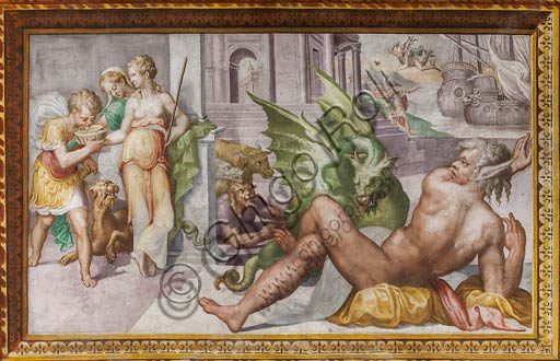 Parma, San Secondo, Rocca Dei Rossi, Hall of Circe: The frescoed ceiling with a representation of the Homeric myth of Circe who turns into monsters the companions of Ulysses to force the hero to stay on the island. By an unknown author, probably a pupil of Giulio Romano.