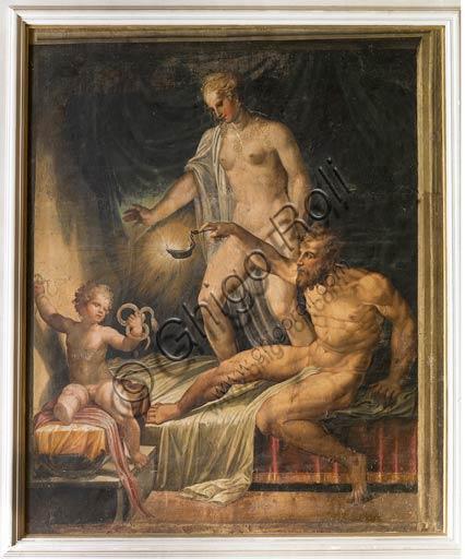 """Parma, Soragna, Rocca Meli Lupi, Sala Gialla: """"Ercole fanciullo che strozza i serpenti"""", affresco staccato del XVI secolo."""