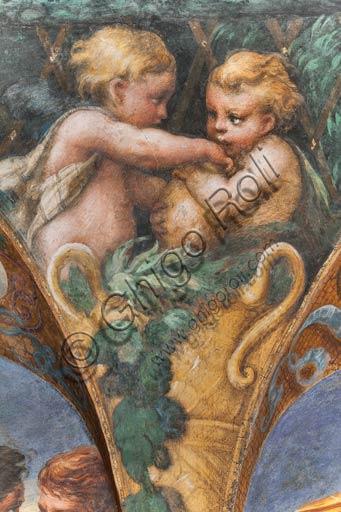 Parma, Fontanellato, Rocca Sanvitale, stanza (o stufetta) di Diana e Atteone: particolare del ciclo di affreschi del Parmigianino (Girolamo Francesco Maria Mazzola) raffiguranti il mito di Diana e Atteone, tratto dalle Metamorfosi di Ovidio. La stanza, affrescata nel 1524, era probabilmente il bagno privato di Paola Gonzaga, moglie di Galeazzo Sanvitale.