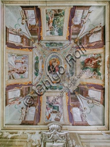 Sala Baganza, Rocca Sanvitale, Sala di Ercole: veduta della volta con episodi delle storie di Ercole.Affreschi di Orazio Samacchini, (o Bernardino Campi?) 1564 - 1565.