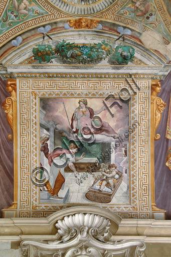 Sala Baganza, Rocca Sanvitale, Sala di Ercole: veduta della volta con episodi delle storie di Ercole. Particolare con Ercole neonato alle prese con i serpenti inviatigli da Era (Giunone), sotto lo sguardo della madre Alcmena.Affreschi di Orazio Samacchini, (o Bernardino Campi?) 1564 - 1565.