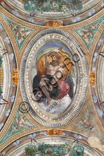 Sala Baganza, Rocca Sanvitale, Sala di Ercole: veduta della volta con episodi delle storie di Ercole. Particolare di Giove con l'aquila. Affreschi di Orazio Samacchini, (o Bernardino Campi?) 1564 - 1565.