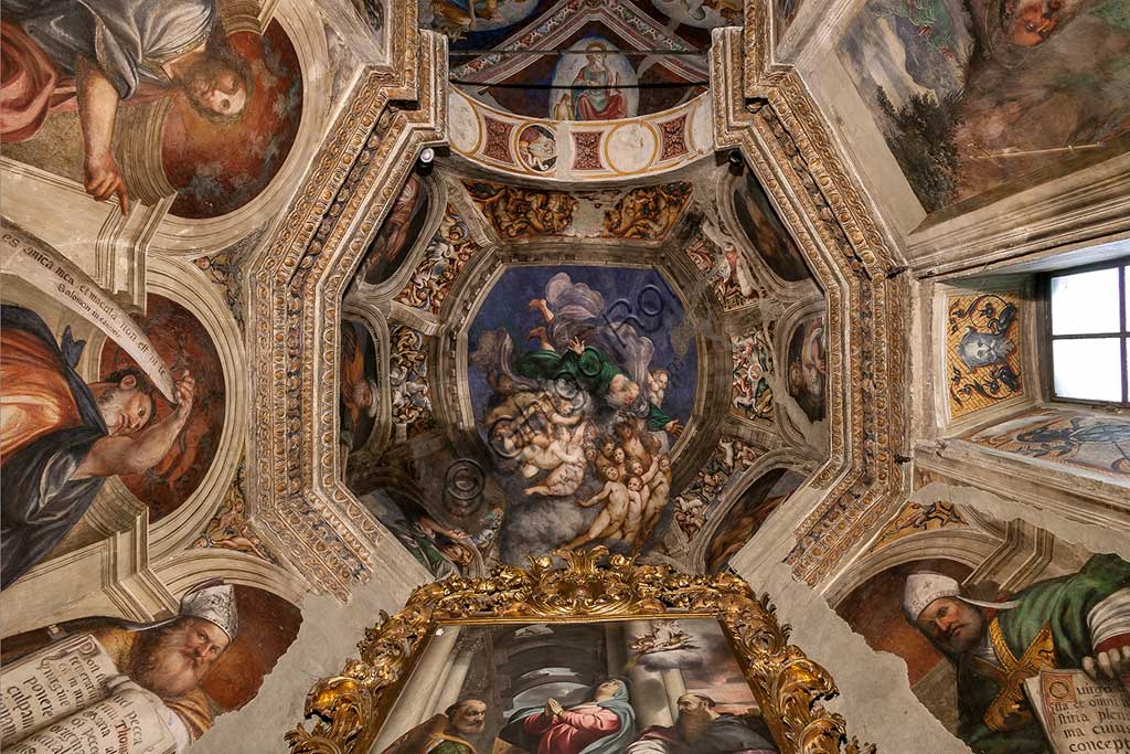 "Cortemaggiore, Church of SS. Annunziata (part of the Franciscan Convent), Chapel of the Conception, the dome: ""God as Creator among Angels"", frescoes by Giovanni Antonio de Sacchis, known as il Pordenone, about 1529."
