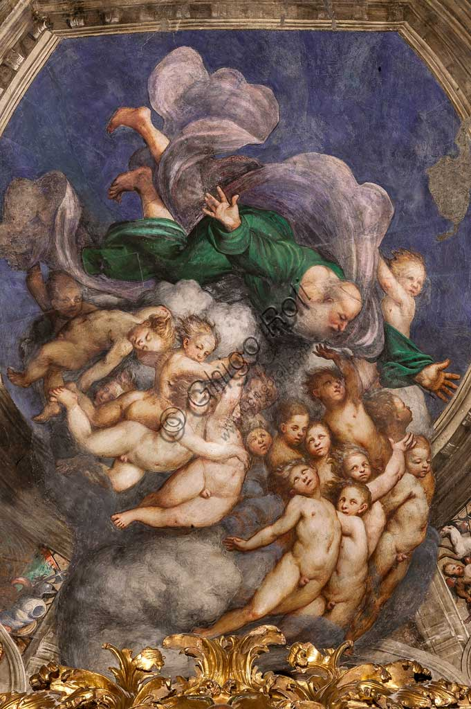 "Cortemaggiore, Church of SS. Annunziata (part of the Franciscan Convent), Chapel of the Conception, the dome: detail of ""God as Creator among Angels"", frescoes by Giovanni Antonio de Sacchis, known as il Pordenone, about 1529."