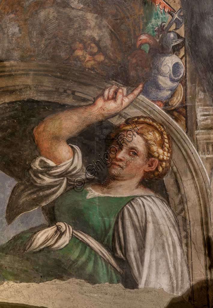 Cortemaggiore, Church of SS. Annunziata (part of the Franciscan Convent), Chapel of the Conception: lunette representing a sybil, frescoes by Giovanni Antonio de Sacchis, known as il Pordenone, about 1529.