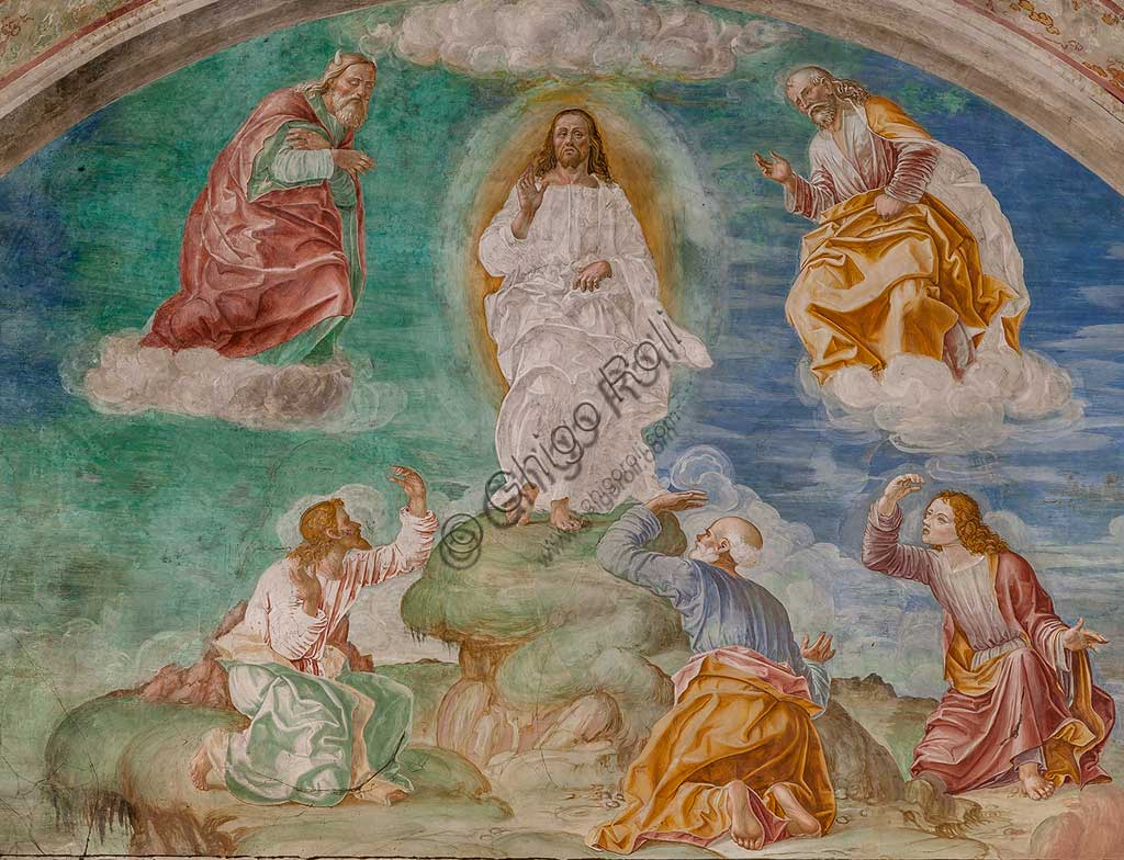"Cortemaggiore, Church of SS. Annunziata (part of the Franciscan Convent), Pallavicino Chapel: ""The Transfiguration  of Christ"", fresco by Giovanni Antonio de Sacchis, known as il Pordenone, about 1529."