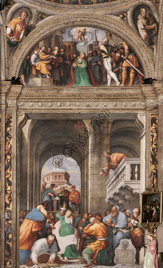 "Piacenza, Sanctuary of the Madonna della Campagna, St. Catherine's Chapel : ""St. Catherine's Disputation with the Philosophers."" In the lunette: ""Beheading of St. Catherine"". Frescoes by Giovanni Antonio de Sacchis, known as il Pordenone, 1530 - 1532."
