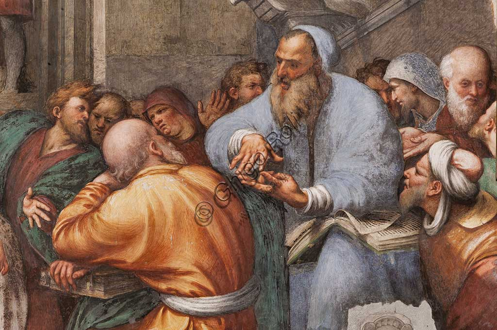 "Piacenza, Sanctuary of the Madonna della Campagna, St. Catherine's Chapel : ""St. Catherine's Disputation with the Philosophers.""  Fresco by Giovanni Antonio de Sacchis, known as il Pordenone, 1530 - 1532. Detail."