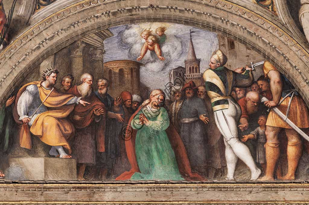 "Piacenza, Sanctuary of the Madonna della Campagna, St. Catherine's Chapel, lunette: ""Beheading of St. Catherine"". Fresco by Giovanni Antonio de Sacchis, known as il Pordenone, 1530 - 1532."