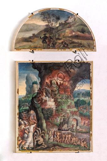 Modena, Galleria Estense: scenes of the Aeneid, by Niccolò dell'Abate,  (1510-1571). These frescoes were detached from the  Aeneid Room in the Rocca dei Conti Boiardo in Scandiano.Lunette 4: hunting scene with falcon.Scene 13: Aeneas enters the Averno (the Underworld); Aeneid, Canto VI