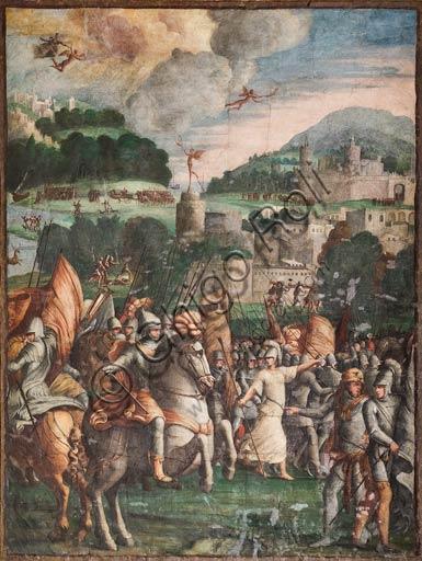 Modena, Galleria Estense: scenes of the Aeneid, by Niccolò dell'Abate,  (1510-1571). These frescoes were detached from the  Aeneid Room in the Rocca dei Conti Boiardo in Scandiano.Scene 13: Turnus and his allies; Aeneid, Canto VII.
