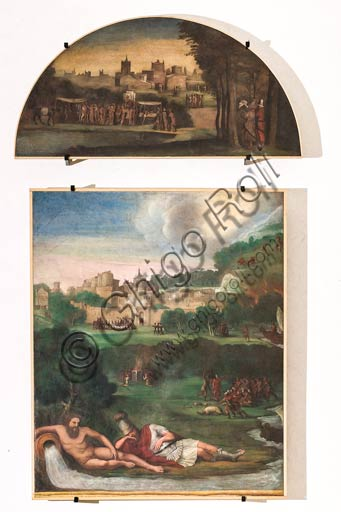 Modena, Galleria Estense: scenes of the Aeneid, by Niccolò dell'Abate,  (1510-1571). These frescoes were detached from the  Aeneid Room in the Rocca dei Conti Boiardo in Scandiano.Lunette 6: Scandiano landscape within local fair.Scene 13: Aeneas comforted by god Tiber; Aeneid, Canto VIII.