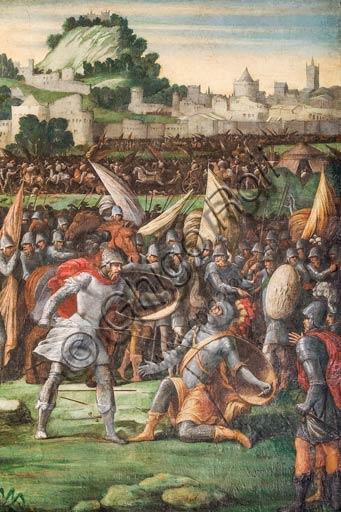 Modena, Galleria Estense: scenes of the Aeneid, by Niccolò dell'Abate,  (1510-1571). These frescoes were detached from the  Aeneid Room in the Rocca dei Conti Boiardo in Scandiano.Scene 18: Turnus' death; Aeneid, Canto XII.