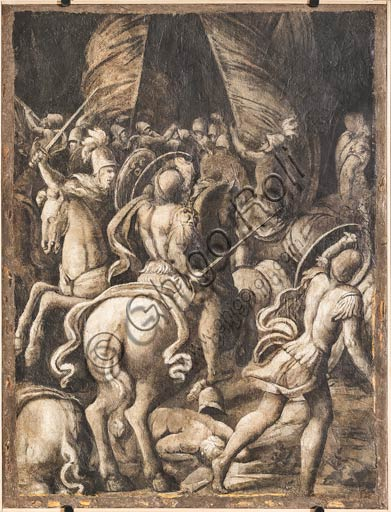 Modena, Galleria Estense: scenes depicting the Aeneid, by Niccolò dell'Abate (1510 - 1571). These artworks are frescoes detached from Room of Aeneid in the Rocca of Counts Boiardo in Scandiano. Monochrome fresco with battle of knights and infantrymen.