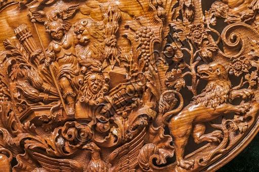 Modena, Galleria Estense:  Cello (1691), by Domenico Galli. Detail of the wood carving.
