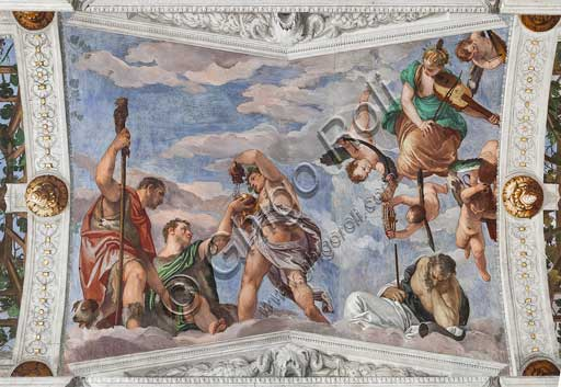 "Maser, Villa Barbaro, Bacchus Room, the vault: fresco depicting Bacchus who teaches shepherds to use grapes. Frescoes by Paolo Caliari, known as ""il Veronese"", 1560 - 1561."
