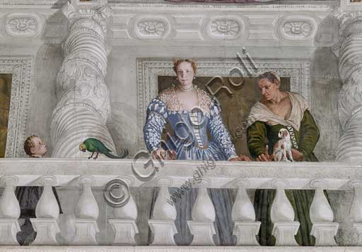 "Maser, Villa Barbaro, the Hall of Olympus: ""Child, Donna Barbaro and her nurse"". Fresco by Paolo Caliari, known as il Veronese, 1560 - 1561."