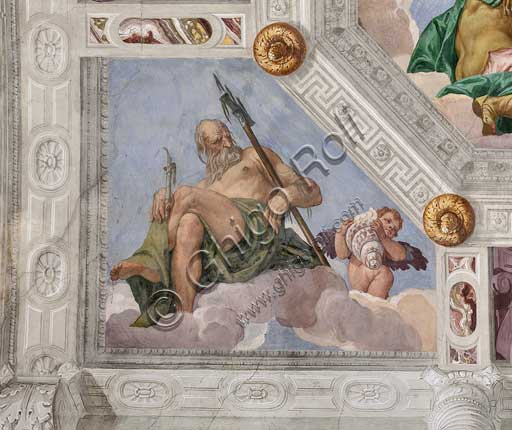 "Maser, Villa Barbaro, the Hall of Olympus, the vault, detail: ""Neptune, or the Water"". Fresco by Paolo Caliari, known as il Veronese, 1560 - 1561."
