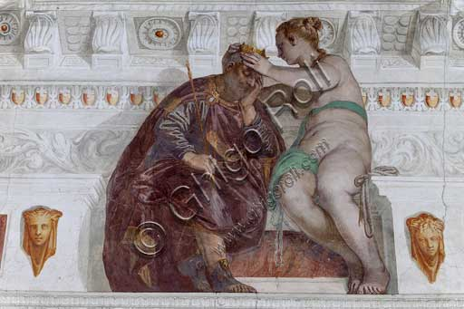 "Maser, Villa Barbaro, the Room of the Little Dog, the vault: ""Fortune crowning the Merit, even if asleep"". Fresco by Paolo Caliari, known as Il Veronese, 1560 - 1561."
