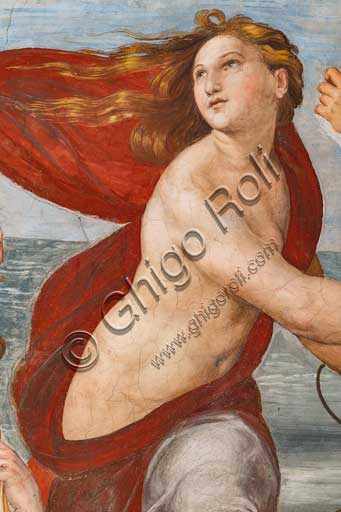 """Rome, Villa Farnesina, the Loggia of Galatea:  """"The Triumph of Galatea"""", by Raphael (1513 - 4). Galatea was the beautiful nymph whom Raphael depicted amongst a throng of sea creatures as she speeds away from her admirer on a fantastical shell drawn by dolphins.Detail."""