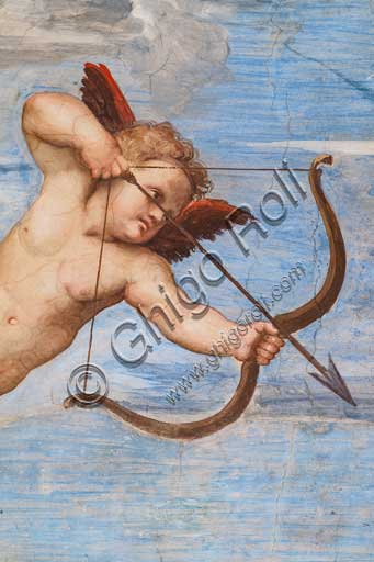 """Rome, Villa Farnesina, the Loggia of Galatea:  """"The Triumph of Galatea"""", by Raphael (1513 - 4). Galatea was the beautiful nymph whom Raphael depicted amongst a throng of sea creatures as she speeds away from her admirer on a fantastical shell drawn by dolphins.Detail with amorini."""