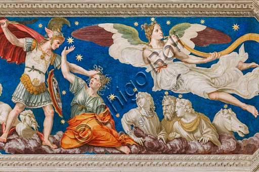 "Rome, Villa Farnesina, the Loggia of Galatea, detail of the vault: ""The Myth of Perseus and the Gorgon Medusa, and  the Fame"". Fresco by Baldassarre Peruzzi (1511)."