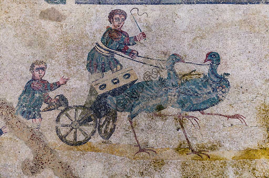 Piazza Armerina, Roman Villa of Casale, which was probably an imperial urban palace. Today it is a UNESCO World Heritage Site. Detail of the mosaic of the Circus depicting a chariot race. Chariots are pulled by birds.