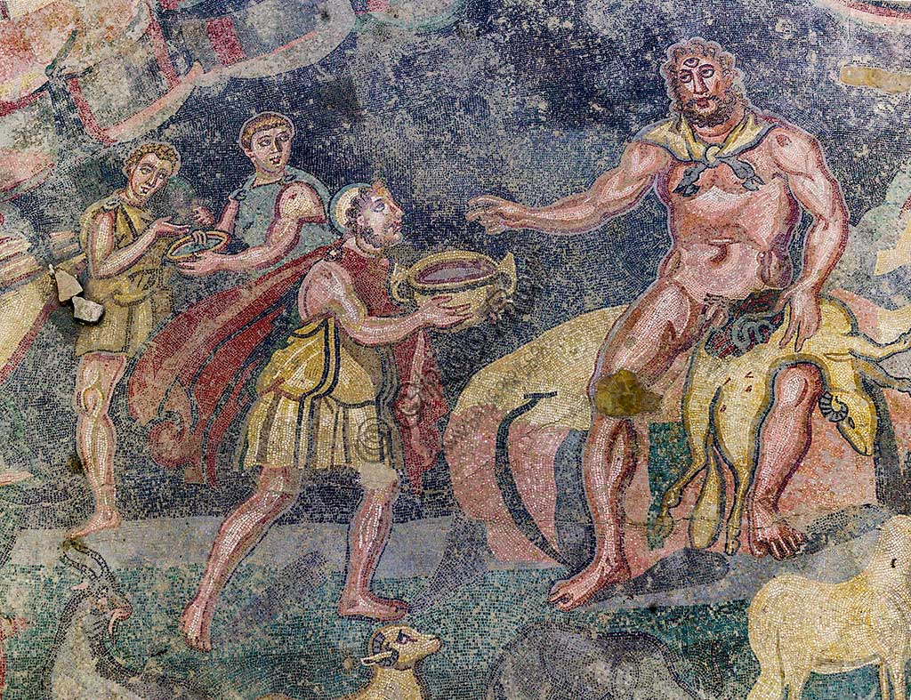 Piazza Armerina, Roman Villa of Casale, which was probably an imperial urban palace. Today it is a UNESCO World Heritage Site. Detail of the floor mosaic depicting the vestibule of Polyphemus.
