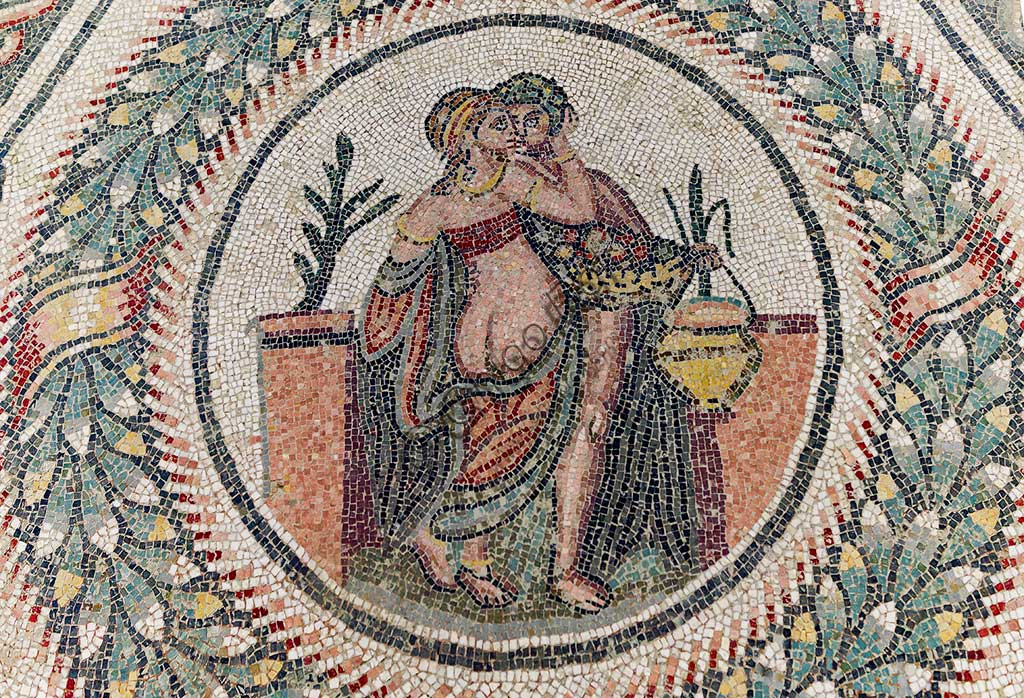 Piazza Armerina, Roman Villa of Casale, which was probably an imperial urban palace. Today it is a UNESCO World Heritage Site. Detail of the floor mosaic of the second cucbicle depicting an erotic scene.