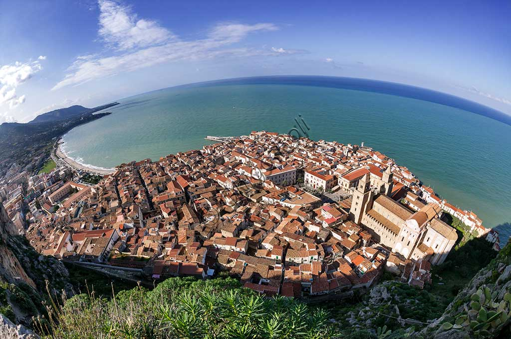 Cefalù: view of the town from the Stronghold known as Castieddu.