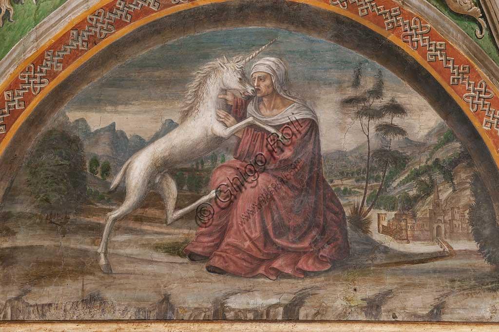 """Parma, Ex-Monastero di San Paolo: Camera con affreschi di A. Araldi (1514) . Nella volta, scene dell'Antico e del Nuovo Testamento, decorazioni a grottesche, putti musicanti. Dettaglio di """"Dama con liocorno""""."""